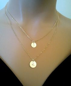 Layered necklace / Personalized Initial Discs Necklace,Mothers day Gift from Daughter, Mothers day Personalized gifts, Mothers day Jewelry Diamond Bar Necklace, Emerald Necklace, Love Necklace, Layered Necklace, Strand Necklace, Simple Necklace, Danty Necklace, Initial Disc Necklace, Minimalist Necklace
