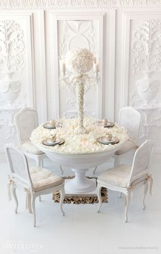 White and white decor. Unique table.  AMORE (Beauty + Fashion): ❣ WEDDING BELL WEDNESDAY ❣ - White Wedding Decorations