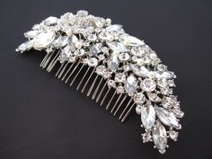 Wedding pearl hari comb bridal hair comb large crystal by Amoretto, $55.00
