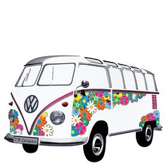 VW Bulli Samba Bus 1962 Flower Hippie Wandtattoo VW Bulli Samba Bus 1962 Flower Hippie Wandtattoo - New Ideas Volkswagen Bus, T1 Bus, Volkswagen Transporter, Vw Camper, Large Wall Stickers, Wall Decal Sticker, Combi Hippie, Vw T1 Samba, Bus Drawing