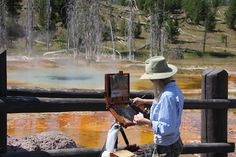 Lori's plein air painting 'studio' in yellowstone