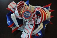 Texas Rangers Bottle Cap Bow by threepeasboutique on Etsy, $10.00
