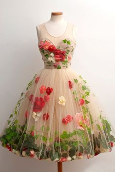 """Unique & Lovely, """"Secret Garden"""" Party Dress made of tulle, artificial flowers and satin lining. Unique & Lovely, Secret Garden Party Dress made of tulle, artificial flowers and satin lining. Vestidos Vintage, Vintage Dresses, Vintage Outfits, Vintage Fashion, Vintage Prom, 1950s Dresses, Retro Vintage, Vintage Holiday, Vintage Clothing"""