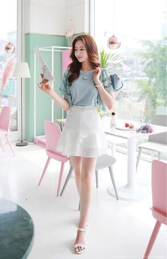 Korean Women`s Fashion Shopping Mall, Styleonme. Korean Girl Fashion, Korean Fashion Trends, Asian Fashion, Asian Woman, Asian Girl, Girl Outfits, Cute Outfits, Beautiful Asian Women, Korean Outfits