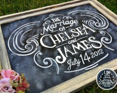 Shabby Chic Custom Wedding Chalkboard Art