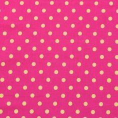 Dieser Stoff ist ein echter Hingucker: knalliges Pink mit gelben Tupfen