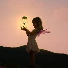 cute little fairy holding a cute little fairy....
