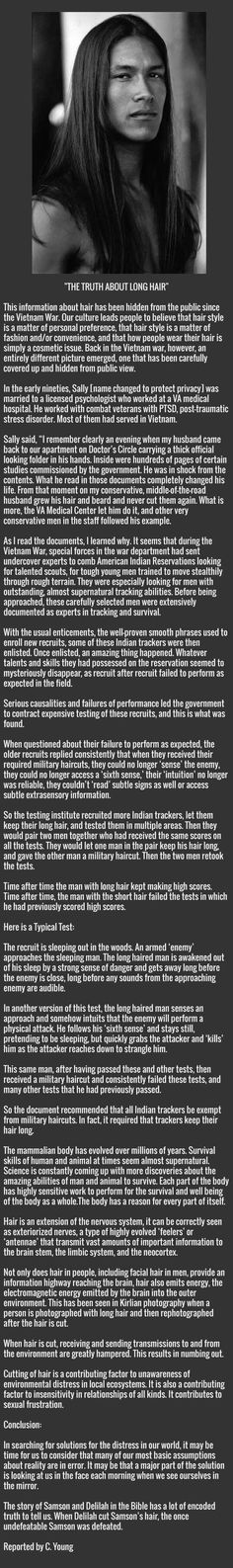 An eye-opening truth about long hair which may surprise you...  Not sure what I think of this but it is interesting