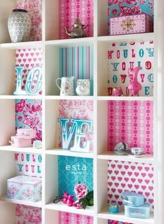 colourwallXL Love turquoise and pink