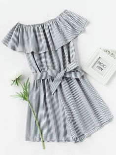 Shop Frill Layered Self Tie Vertical Striped Romper online. SheIn offers Frill Layered Self Tie Vertical Striped Romper & more to fit your fashionable needs. Trendy Outfits, Summer Outfits, Fashion Outfits, Womens Fashion, Fashion Fashion, Fashion Ideas, Vintage Fashion, Fast Fashion, Fashion Styles