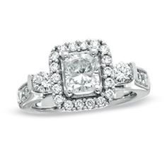 1-3/4 CT. T.W. Certified Radiant-Cut Diamond Frame Engagement Ring in 14K White Gold (H-I/I1) - Zales