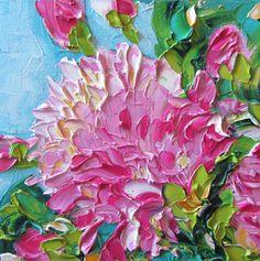 Pintura al óleo Original Impasto peonías rosa por IronsideImpastos