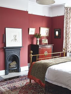 A Renovated Victorian Semi Detached Home Red Bedroom
