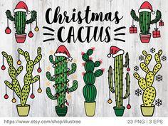 Cactus Christmas trees for Christmas cards digital clip art