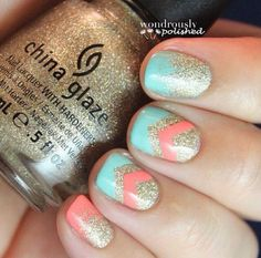 Gold, Tiffany, coral, AND GLITTER!!!!