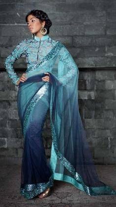 Ombre Dyed Net Saree With High Collar Full Sleeve Blouse India Fashion, Ethnic Fashion, Asian Fashion, Full Sleeves Blouse Designs, Saree Blouse Designs, Sari Blouse, Net Saree, Lehenga Choli, Indian Dresses