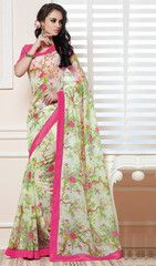 Pastel Green & Pink Color Linen Bhagalpuri Party Wear Sarees : Nayantara Collection YF-32003