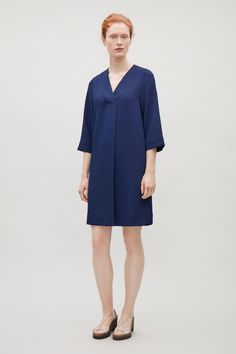 COS image 6 of Crossover v-neck dress in Navy