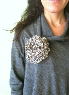 Crochet Flower Pin Large Crochet Brooch Gray by Myhandmadepassion