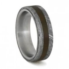 This is a special Petrified Wood and Meteorite Collectible Ring - This exotic inlay collection is the most prestigious of all of our collections - rings are made by hand, no two are the same.