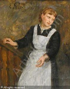 Eduard von Gebhardt (Estonian-German: 1838 - 1925) -  Das Dienstmädchen. Eine junge Frau in dunklem Gewand und gestreifter Schürze, eine Treppe heraufsteigend