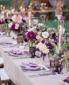 Purple Wedding Flowers La Tavola Fine Linen Rental: Velvet Pink with Tuscany Rose Napkins Purple Wedding Tables, Lilac Wedding, Purple Wedding Flowers, Wedding Table Centerpieces, Wedding Table Settings, Spring Wedding, Floral Wedding, Wedding Colors, Wedding Decorations