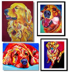 Section Golden Retriever Art: art prints, posters, and paintings. Original custom art of your own dog, too! More than 300 Golden Retriever artworks to choose from. Portraits of puppies and adult dogs. Golden Retriever Art, Golden Retrievers, Bright Pictures, Custom Art, Art Music, Mans Best Friend, Dog Friends, All Art, Amazing Art