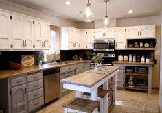 White, gray, natural kitchen renovation