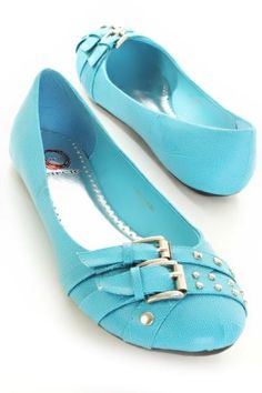 turquoise strappy buckle flat