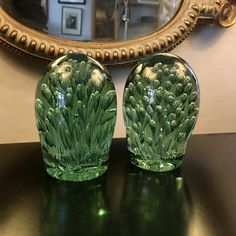 Antiques Atlas - Two Similar Green Glass Dumps Looking To Buy, Get Directions, Antique Glass, Bubbles, Victorian, Antiques, Green, Antiquities, Antique