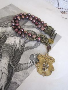 repurposed assemblage handmade jewelry necklace by atelierparis, $119.00