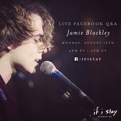 Tomorrow, 2pm PT / 5pm ET.   Jamie Blackley will be answering YOUR questions live, so make sure you have some ready! | If I Stay