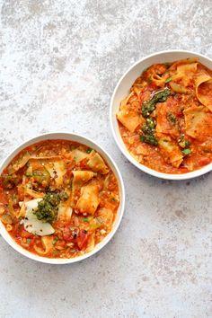 Instant Pot Lasagna Soup - Vegan Lasagna Soup with lasagna noodles, veggies, red lentils and basil. 1 Pot weekday meal. #Vegan #Nutfree #Recipe. Can be #glutenfree. #veganricha | VeganRicha.com