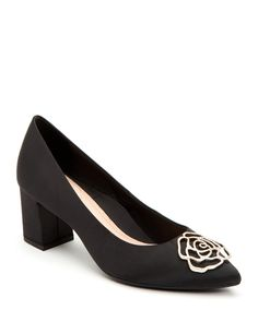 $170.0. TARYN ROSE Pumps Maci Satin Crystal Block-Heel Evening Pumps #tarynrose #pumps #shoes