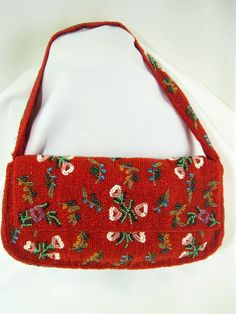 Christiana Red Handbag Purse Baguette Clutch Fully Beaded Red Multi Flower  #Christiana #Baguette