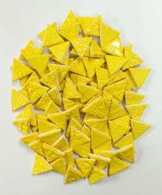 100 Handmade YELLOW CERAMIC Mosaic Triangles Tiles - http://crafts.goshoppins.com/glass-mosaics/100-handmade-yellow-ceramic-mosaic-triangles-tiles/