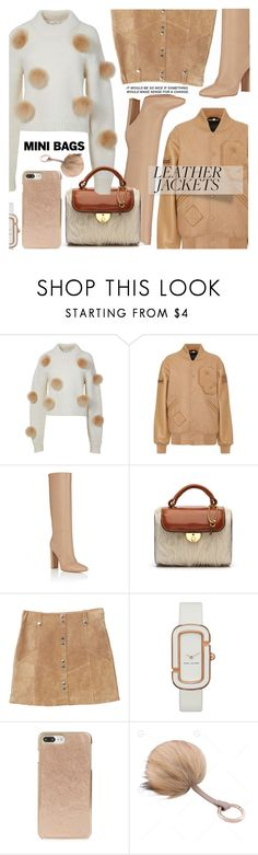 """Leather Jacket//Mini Bag"" by shoaleh-nia ❤ liked on Polyvore featuring TIBI, Opening Ceremony, Gianvito Rossi, Maison Margiela, MANGO, Marc by Marc Jacobs and Kate Spade"