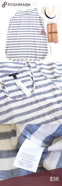 """J.Crew Linen Stripe Summer Dress Lovely J.Crew. brand summer dress. Short tank top style. Linen cotton blend that's nice and sheer. Perfect for over a bathing suit or layered. Faded blue with off white natural tones. Front pocket. New with tags. Size large. 32.5"""" long in front and 34"""" long in the back. J. Crew Dresses"""