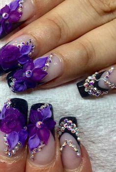 Purple floral rhinestone nails @nails_by_verovargas