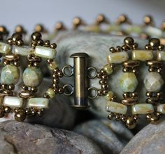 Stunning SuperDuo Brick  Bead Bracelet by ReggiesCreations on Etsy