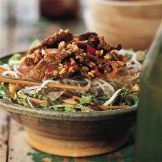 Vietnamese Lemongrass Beef and Onions over Rice Vermicelli (Bun Bo). This looks like a vegan challenge. Yep sure does!