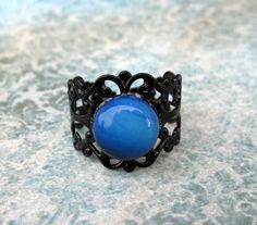 Victorian Style Black Adjustable Filigree Ring With Beautiful Opalite Cabochon $10.00