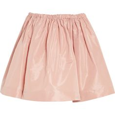 Miu Miu Flared faille mini skirt ($220) ❤ liked on Polyvore featuring skirts, mini skirts, bottoms, saias, faldas, blush, elastic waist mini skirt, flared mini skirt, short skirts y rose skirt