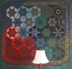 awesome 60 degree diamond hand pieced quilt  Kathy's Quilt Gallery