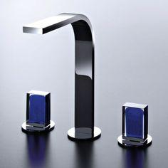 Dreiloch-Waschtisch-Armatur Venezia IN mit flachem Auslauf | Fantini | Design: Thun & Rodriguez | Muranoglasgriffe, verschiedene Oberflächen