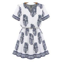 SheIn(sheinside) White V Neck Blouson Short Sleeve Floral Dress ($18) ❤ liked on Polyvore featuring dresses, vestidos, multicolor, floral dress, v neck dress, vintage white dress, flare dress and short floral dresses