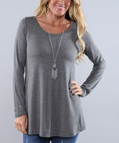 Another great find on #zulily! Coco and Main Charcoal Long-Sleeve Tunic by Coco and Main #zulilyfinds