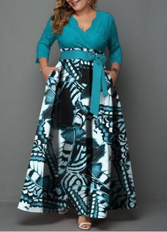 Printed Belted Lace Panel Plus Size Maxi Dress - plus size fashion for women - Big Size Dress, Plus Size Maxi Dresses, Nice Dresses, The Dress, Dresses Dresses, Awesome Dresses, Dress Pants, Swag Dress, Fall Dresses
