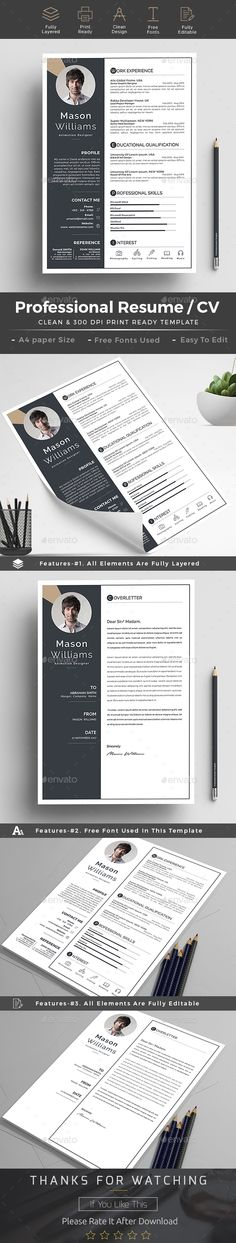 #Resume - Resumes #Stationery Download here: https://graphicriver.net/item/resume/19243648?ref=alena994