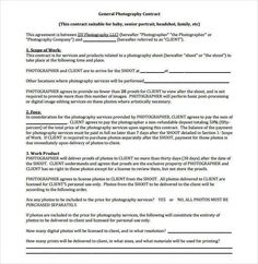 Example of Family Photography Contract 20 Photography Contract Template Photography contract template is very helpful to be used as legal document between two parties client and photographer. As a pro the basic terms at least should be mastered.